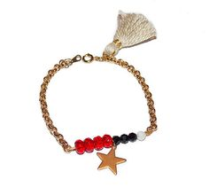 Star and Tassel Bracelet Red black and white by CloudyAfternoon, $25.00