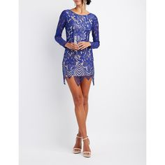 Charlotte Russe Eyelash Lace Bodycon Dress ($40) ❤ liked on Polyvore featuring dresses, navy, white long-sleeve dresses, white cocktail dress, navy blue bridesmaid dresses, prom dresses and open back cocktail dress
