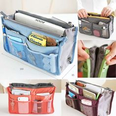 Travel Bag Insert | 29 Ideal Travel Bags For Your Next Trip I keep seeing this and thinking that I can buy 2 cosmetic bags and make this!!