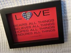 Christian WORD Art Shadowbox Frame  Red & Black by glorygivers, $20.00