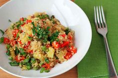 Pineapple Fried Quinoa. Qunioa is a great source of complete protein andit cooks up quickly, making this perfect as a fast weeknight meal. You can even cook the quinoa ahead of time and leave it in the fridge until you are ready to assemble. This recipe is best with fresh pineapple, but canned pineapple can also be substituted.Enjoy!