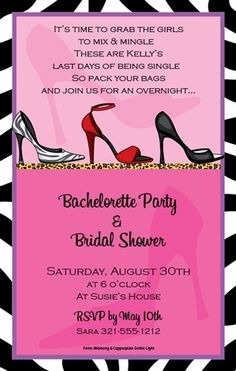 Can't wait for Sarah's bachelorette party. Grab your heels girls and get ready for the time or your life! Bachelorette Invitations, Bachlorette Party, Bachelorette Weekend, Bridal Shower Invitations, Party Invitations, Invites, Pre Wedding Party, Pre Party, Party Fun