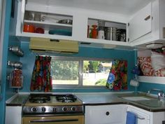 Cute camper kitchen. a place for everything.