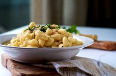 """@Jon Backus this is the """"skinny"""" mac recipe that we made. To all: the thickness comes from the carbs in the noddles +  skim milk -- you cook the pasta IN THE MILK -- this way the consistency is right and you add in a v sharp cheese and salt for flavor"""