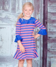 Look at this #zulilyfind! Coral & Blue Stripe Dress - Infant, Toddler & Girls by Jelly the Pug #zulilyfinds