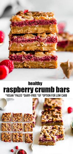 These Raspberry Crumb Bars are filled with a sweet & juicy raspberry filling & topped with a buttery grain-free shortbread crumble topping. They are made with simple pantry-friendly ingredients & make the perfect healthy snack or dessert for summer with fresh or frozen raspberries or any other summer berries or fruit you have on hand. These raspberry bars are not only incredibly delicious, they are also gluten-free, paleo, vegan & refined-sugar free. #vegan #paleo #raspberry #crumbbars