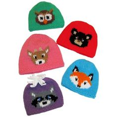 Crochet Border Stitch Forest friends hats Knitting pattern by Craft Designs for You Free Baby Patterns, Baby Knitting Patterns, Knitting For Kids, Free Knitting, Knit Hat Pattern Easy, Knitted Hats, Crochet Hats, Intarsia Knitting, Woodland Critters