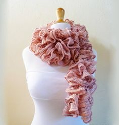 Knit Scarf LIGHT LEATHER BROWN  Ruffled by OriginalDesignsByAR, $19.95