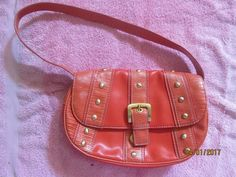 NINE WEST CORAL PURSE W/ GOLD COLORED STUDS #NineWest #ShoulderBag