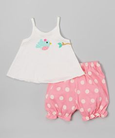 Loving this Off-White & Pink Polka Dot Bird Top & Bloomer - Infant & Toddler on #zulily! #zulilyfinds
