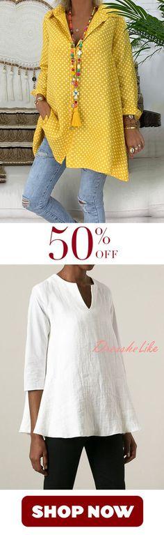 Spring/Summer Polka Dot Cotton Printed Plus Size Shirt bought! Spring/Summer Polka Dot Cotton Printed Plus Size Shirt Spring Outfits Women, Summer Outfits, Casual Outfits, Mode Plus, Mode Chic, Style Casual, Trendy Style, Plus Size Shirts, Mode Outfits