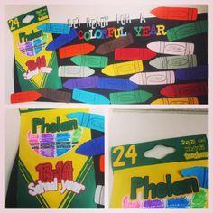 Get Ready For A Colorful Year Bulletin Board Idea Unique Bulletin Board Ideas, Back To School Bulletin Boards, Classroom Bulletin Boards, Classroom Ideas, Christian Bulletin Boards, I School, Color Themes, Halloween Crafts, Kindergarten