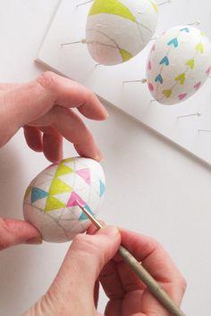 Geometric pattern Easter egg painting
