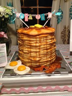 Pancake cake!  :) fun for a pancakes and pajamas birthday party!