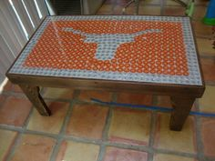 Texas Longhorn Bottle Cap Table Rustic Reclaimed Wood By HorseshoeTableCo  On Etsy