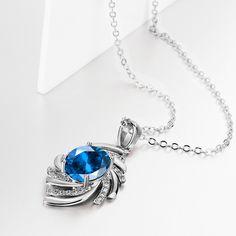 Arlumi 18K Platinum Plated Sapphire Fashion Swirl Pendant Necknace N062-C Venice California, Sapphire, 1, Plating, Bracelets, Metal, Rings, Gold, Jewelry
