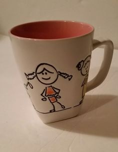 Coffee Cup Stick Figure Kids Children Pink White Teacher Daycare Childcare Gift  | Collectibles, Decorative Collectibles, Mugs, Cups | eBay! Stick Figures, Childcare, Pink White, Coffee Cups, Mugs, Tableware, Knit Crochet, Gifts, Sew