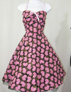 Valentine hearts rockabilly Dress with circle by RavenBombshell, $109.00