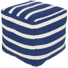 Bring a pop of pattern to your living room or den seating group with this stylish wool pouf, classic navy awning stripes for a timeless nautical touch.