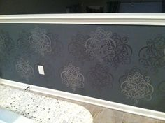 Metallic Stenciled wall in the kitchen!