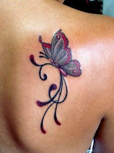 Simple Color Butterfly Tattoo On Back