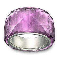 A gorgeous, petite version of Swarovski's iconic Nirvana ring. Beautifully crafted in trendy Amethyst crystal, this silver-plated creation sparkles from all angles. Its elegant coloring lends a glamorous, feminine note to any outfit.