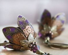 Dangle earrings flower earrings purple earrings gift for her graduation gift sympathy gift mother's day gift on Etsy, $52.00