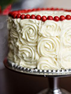 Red Velvet Cheesecake Layer Cake~ 2 layers or red velvet with a cheesecake layer in the middle!