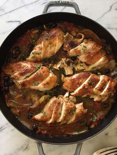 juicy and flavorful baked chicken with tomatoes, olives and capers recipe (variations for GF and vegan!) | pamelasalzman.com