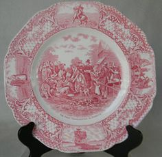 Vintage English Plate Crown Ducal Colonial Times PINK / RED TRANSFER WARE PLATE The First Thanksgiving Circa 1930 For consideration is this highly collectible, historical Staffordshire plate depicting
