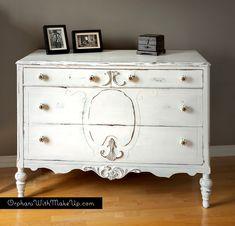 """Shabby chic dresser painted in """"Sturbridge White"""" Homestead House Milk Paint."""