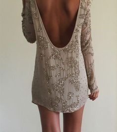 beaded dress taupe low cut back dress lowback longsleeve long sleeve sparkles short prom backless dress sequin dress prom dress allsaints gl...