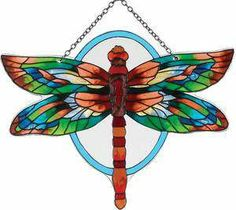 Stained Glass Water Cut Fired DRAGONFLY Suncatcher