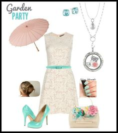 Spring Outfit Bridemaids dress Featuring Origami Owl Locket with butterfly and pink rose charms Origami owl aqua #origamiowl #outfits