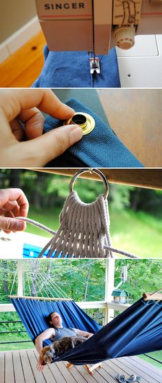 diy hammocks projects and tutorials including from little dog this very good step by st Diy Projects To Try, Craft Projects, Sewing Projects, Outdoor Projects, Fun Crafts, Diy And Crafts, Arts And Crafts, Sewing Hacks, Sewing Crafts