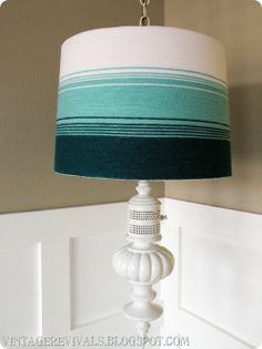 ombre lampshade DIYed with yarn