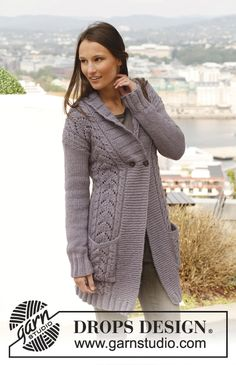 Knitted DROPS jacket with cables, lace pattern and band collar - free pattern