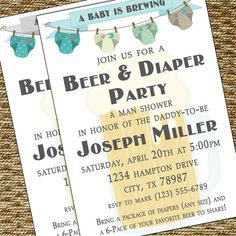 Beer & Diaper Party = Parents to be baby shower. Daddy baby shower! That's cute! Something to remember :)