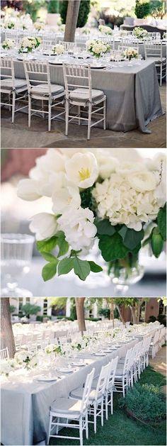 Silver, white, gray wedding color reception idea; Photo: Jose Villa Photography