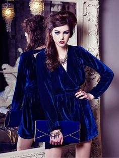 Dark Navy Blue Velvet Long Sleeve Draped Back Playsuit