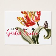 Spring Tulip | Floral Watercolor Landscaping Busin Business Card