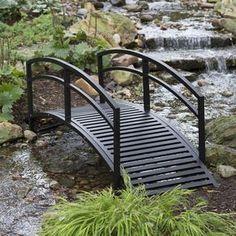 Modern 8-Ft Metal Garden Bridge with Arched Rails in Black Powder Coated Steel