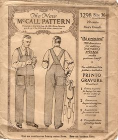 vintage workwear - Google Search Mens Sewing Patterns, Sewing Paterns, Sewing Men, Mccalls Patterns, Vintage Patterns, Men's Dungarees, Men's Overalls, Industrial Workwear, Bib And Brace Overalls