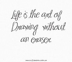 """Life is the art of drawing without an eraser."""