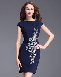 #AdoreWe #VIPme Bodycon Dresses❤️Designer YZXH Royal Blue Embroidery Cap Sleeve Bodycon Midi Dress - AdoreWe.com