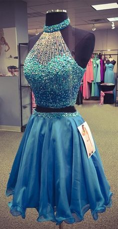 short homecoming dress, two piece homecoming dress, 2016 homecoming dress, blue…