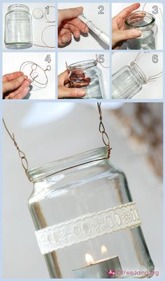 Jar lanterns for center pieces