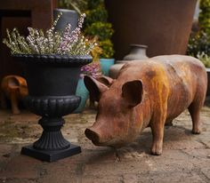 Standing Sow, Pig Statue, Cast Iron, Farm Animal, Garden Ornament