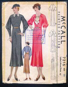 McCall 7216   ca. 1932 Ladies' & Misses' Dress