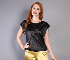 vintage 70s WET Look ZIPPER Top / Shiny Black Disco Glam Blouse